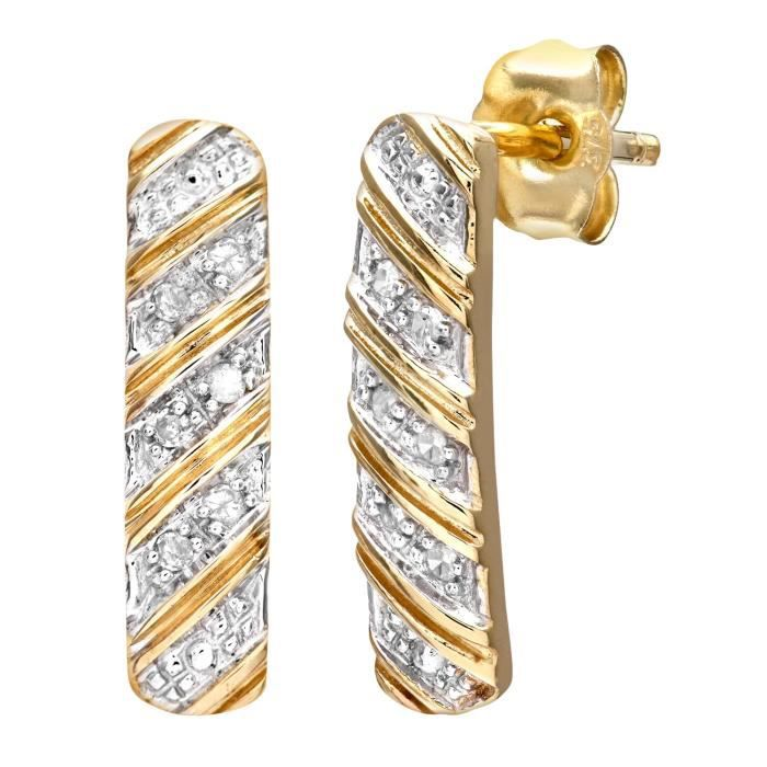Boucles Doreille - Femme - Or Jaune (9 Carats) 1.36 Gr - Diamant 0.05 Cts RPL77