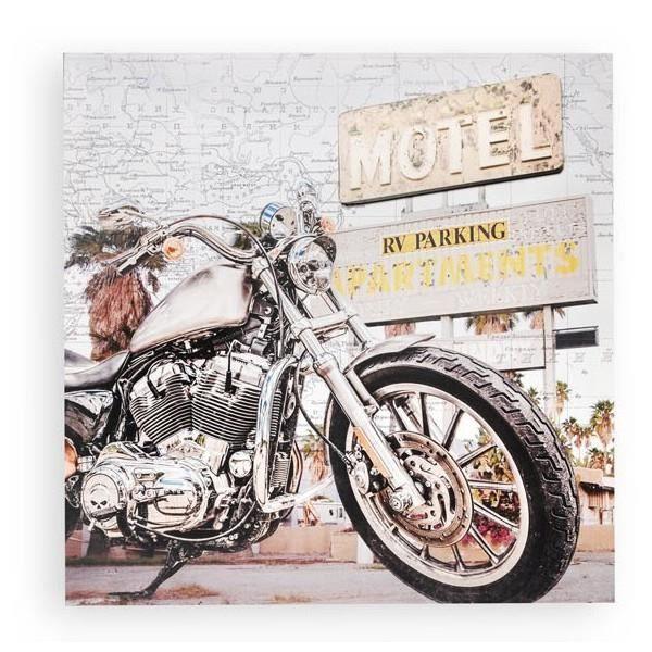 TABLEAU - TOILE Cadre toile 3D Moto ancienne - vintage - 60 x 60 c