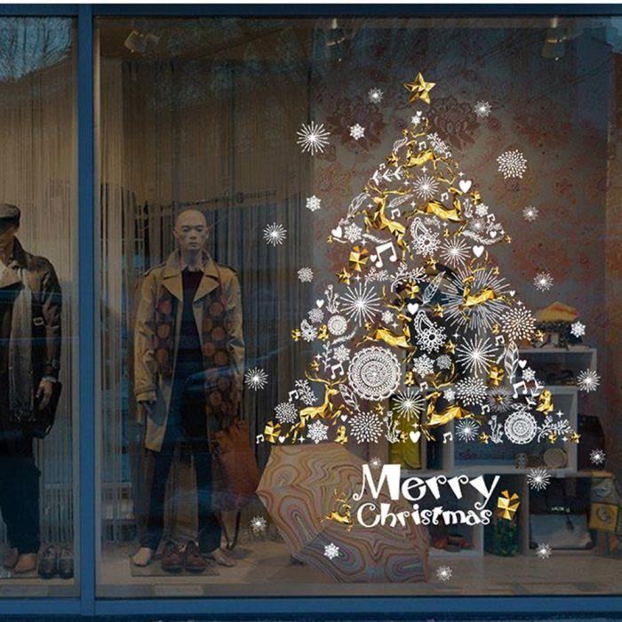 No l vitrine d coration mur autocollant amovibles arbre de no l cerf ymf70925680 1234 achat for Decoration de noel luxe