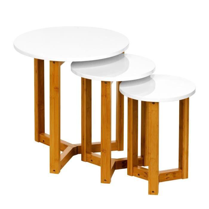 Lot De 3 Tables Gigognes Rondes Mdf Blanches Tres Brillantes