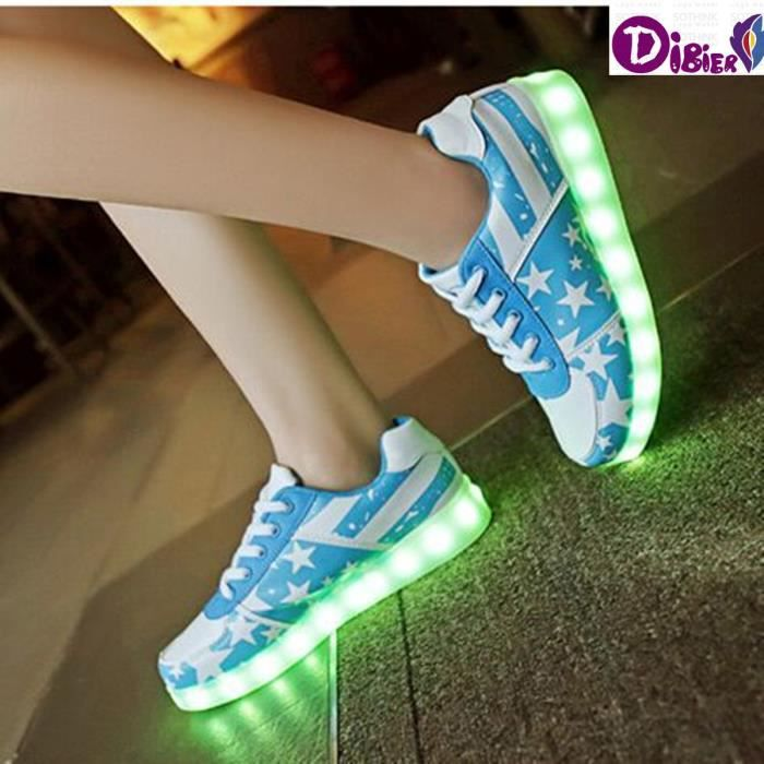 7 couleurs USB Charge Chaussures Casual Basketb...