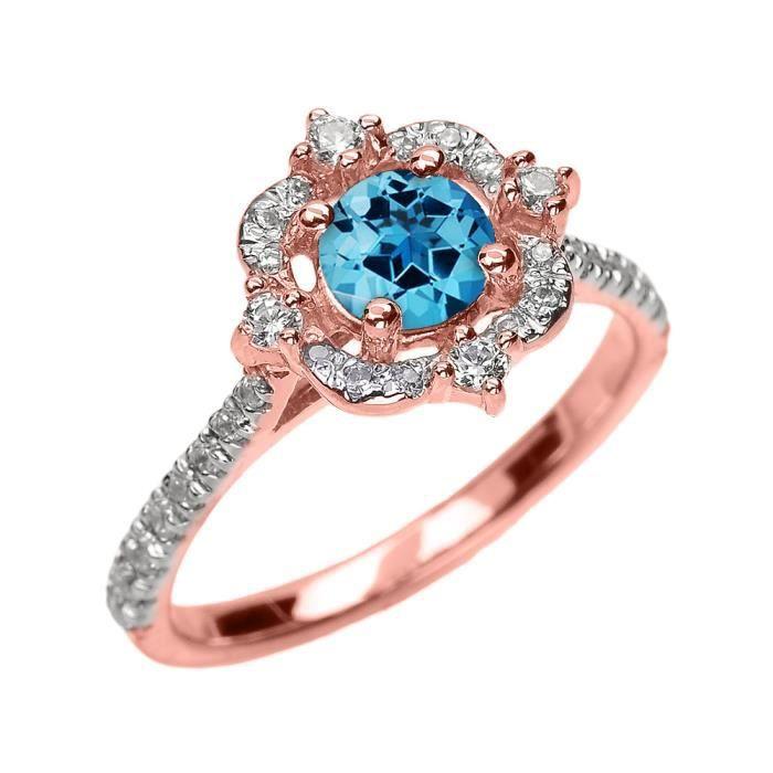Bague Femme 14 Ct Or Rose Véritable Bleu Topaze Et Diamant