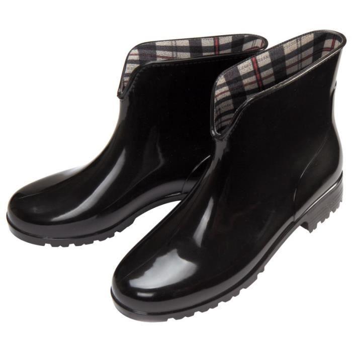 taille 40 321c6 f9238 Bottines de pluie femme PVC étanche doublure carreaux Noir ...