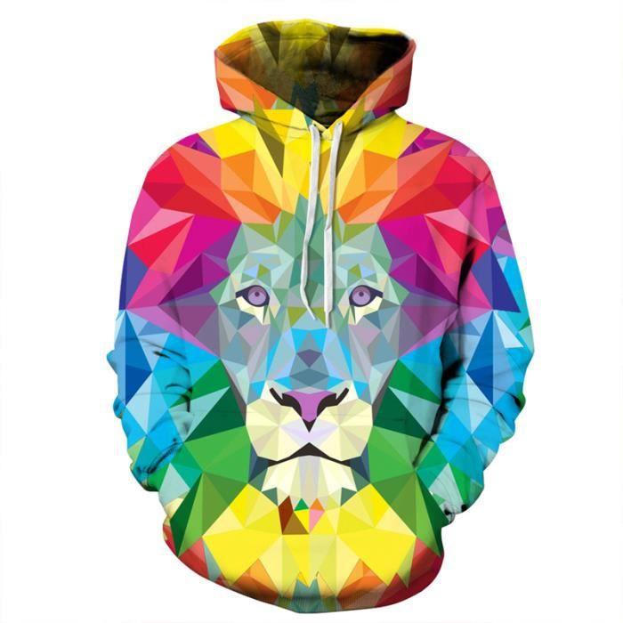 ffd626b3a649 3D Sweatshirt Homme Femme Lion Peint Imprimé Couple Baseball Sweat Poche  Homme Marque Luxe Slim Fit