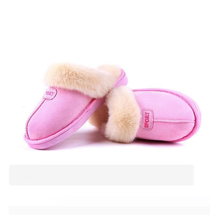 Confort Peluche Chaussons Anti-Derapant pantoufles Hiver Intérieure Chaud Coton Pantoufles pour femmes