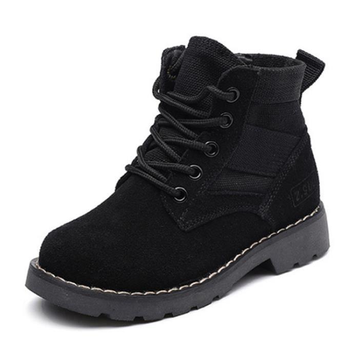 Populaire Hiver boots Enfants Pour Garçon Fille Fermeture éclair latérale Martin Boots Gommage HZ-210noir28 v5mjBMjPNI