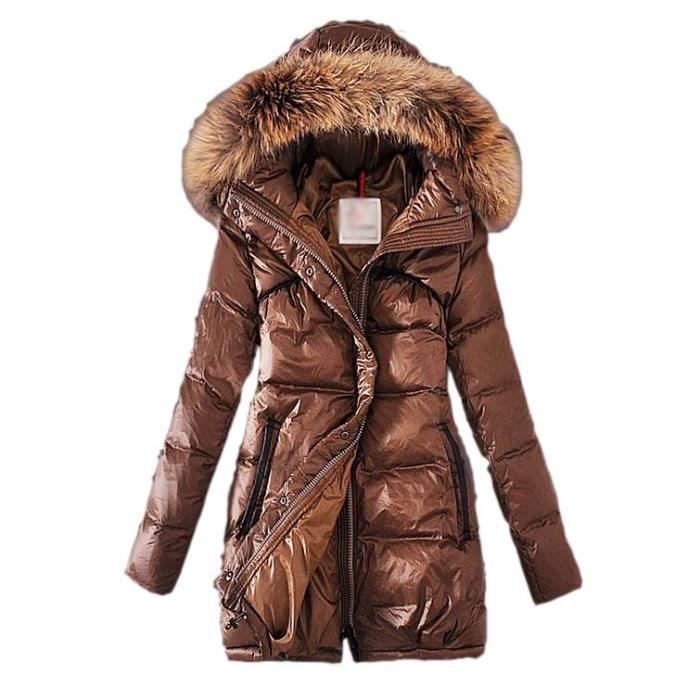 marron doudoune femme hiver col montant avec capuche fourrure manteau fine et l g re en duvet de. Black Bedroom Furniture Sets. Home Design Ideas