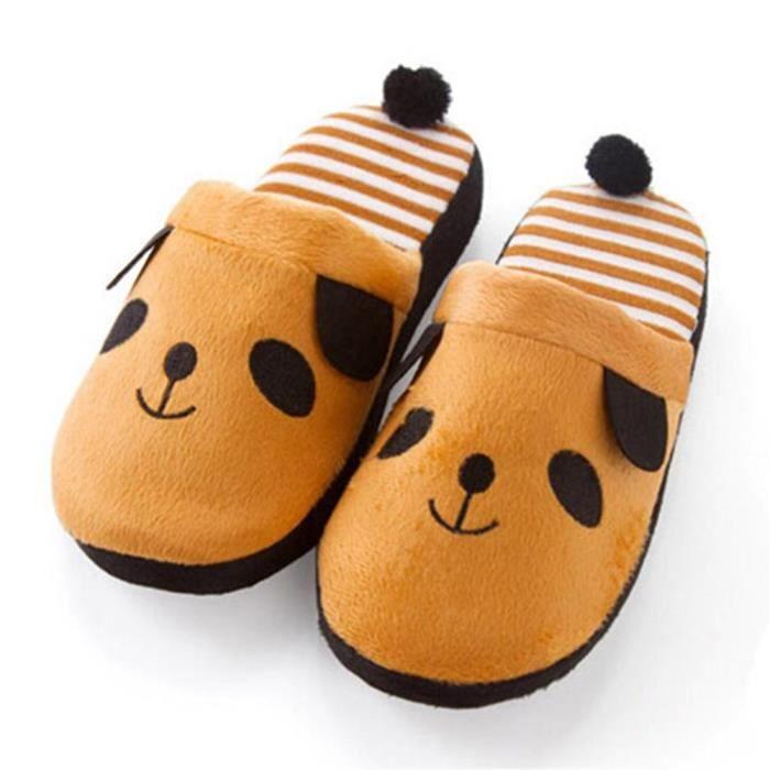 Pantoufles Cartoon Animaux Hiver Chaud Peluche Panda slippers TYS-XZ037Marron36