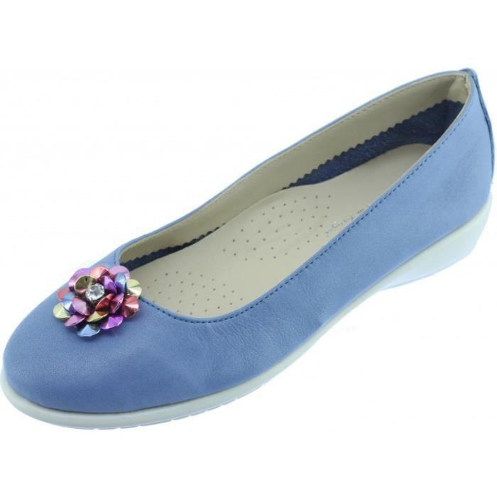 DANCE FLOWER - Ballerine super souple confortable et flexible chaussures femme pieds sensibles marque Aérobics cuir bleu