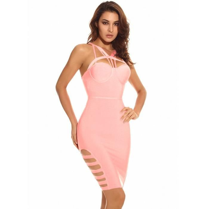 Cut Out femmes Strappy du Club Party Bandage Robe creux Side 2S6FCP Taille-32