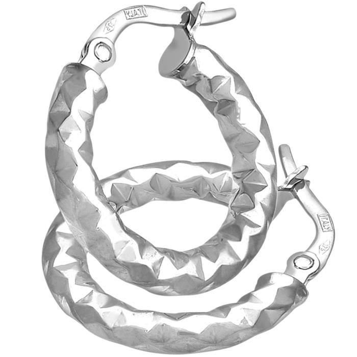 Revoni - Boucles d'oreilles anneaux en or blanc 9 carats et diamants taillés, diamètre 10 mm