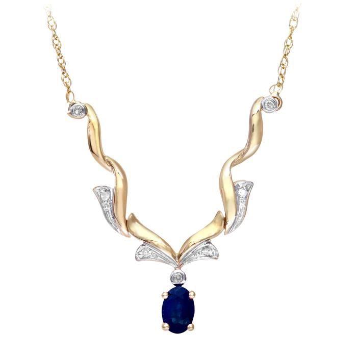 Revoni - Collier en or jaune 9 carats, saphir et diamants- REVCDPNE01129YSA