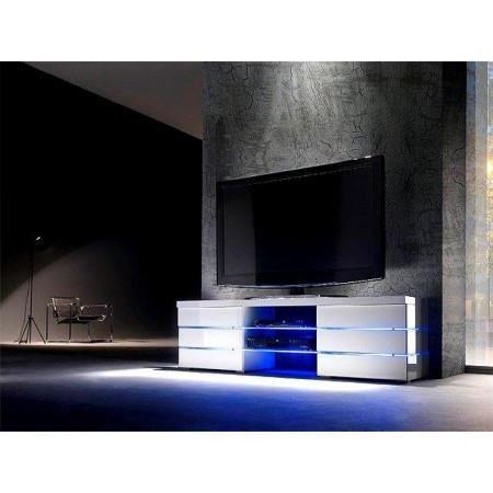 meuble tv meuble tv led blanc laqu logan - Meuble Tv A Led Blanc Laque Tron