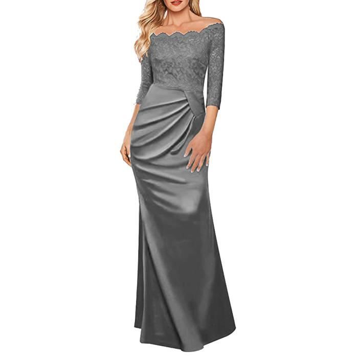 exquisgift®Femmes off épaule formelle longue Maxi soirée robe de demoiselle dhonneur GRIS~LNP71129363GYA