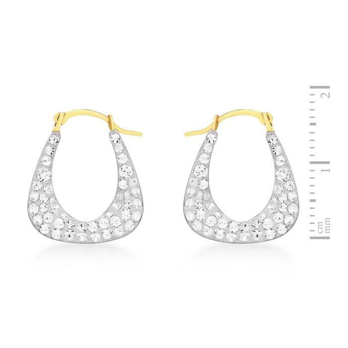 Boucles Doreilles Créoles - Femme - Or Jaune 375-1000 (9 Cts) 0.4 Gr - Cristal CMSZH