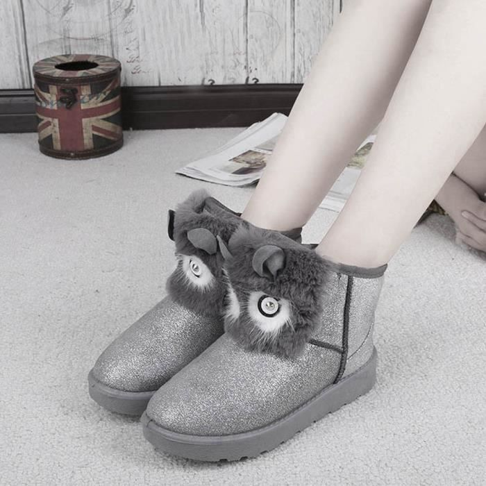 Argent Femme Casual Mode Chaussures Bottines Hiver Neige Chaud Lady T8qATwz