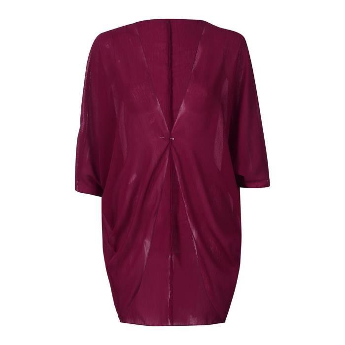 du Vin Couleur Vrac Solide D'été Recouvrir En Kimono Cardigan Femmes Manches OfnTFqAUZ