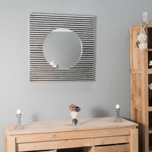 Miroir carre achat vente miroir carre pas cher cdiscount for Miroir en bois pas cher