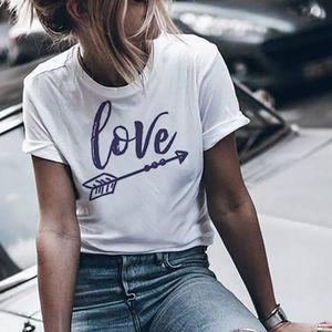 T-SHIRT Les femmes filles Lettre taille plus T-shirts manc