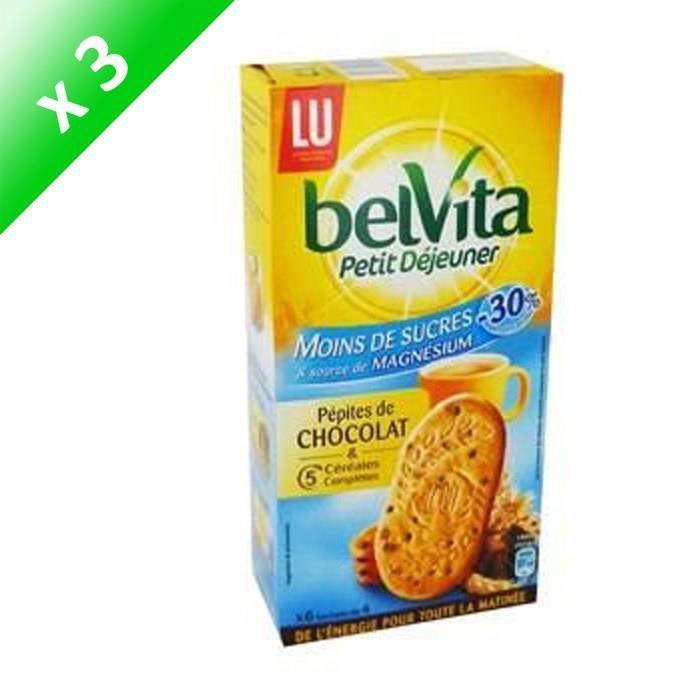BELVITA Biscuits petit déjeuner allégé aux céréales et pépites de chocolat - 300 g x3