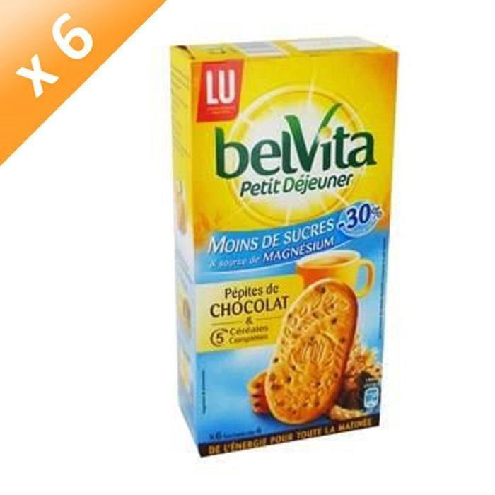 BELVITA Biscuits petit déjeuner allégé aux céréales et pépites de chocolat - 300 g x6