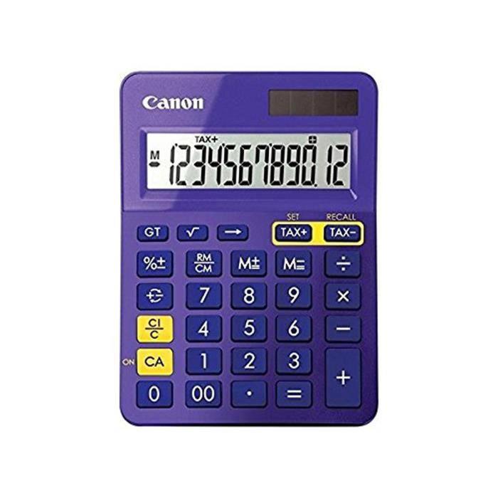CANON Calculatrice de bureau LS-123K - 12 chiffres - Panneau solaire, pile - Violet