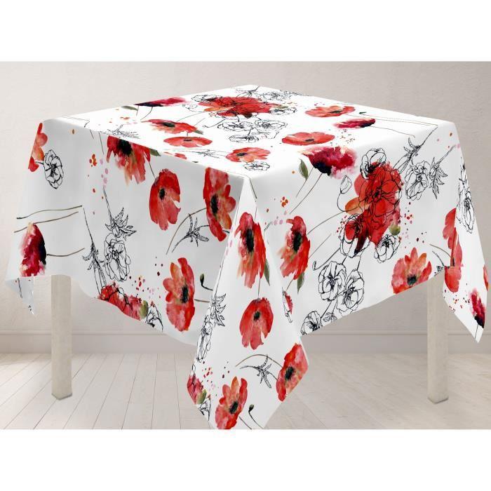 SOLEIL D'OCRE Nappe carrée Coquelicot 180x180 cm - 100% polyester - Imprimé