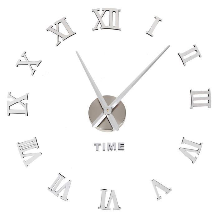 3d Diy Horloge Pendules Murales Silencieux Colle Au Mur Maison Decoration Hotel Bureau Restaurant Argentee