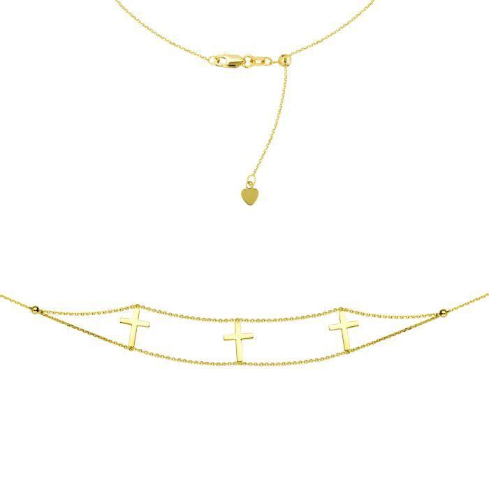 Collier en or jaune 14k à triple croix, réglable 16