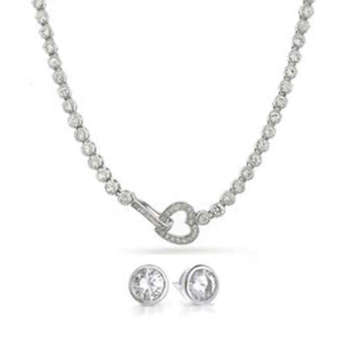 Bling Jewelry coupe ronde CZ coeur lien Tennis oreille Collier fixé