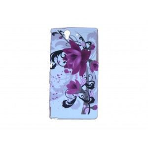 coque silicone pour sony xperia z fleurs roses + film protection
