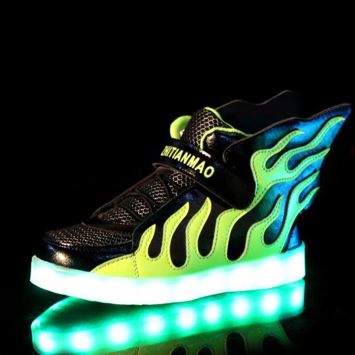 ba4ae2b1a16bd ... Lumineux Chaussures de Sports Baskets Garcon Fille Chaussures Sports  Baskets. BASKET Haut Mode enfants 7 Couleu flamme Chaussures LED