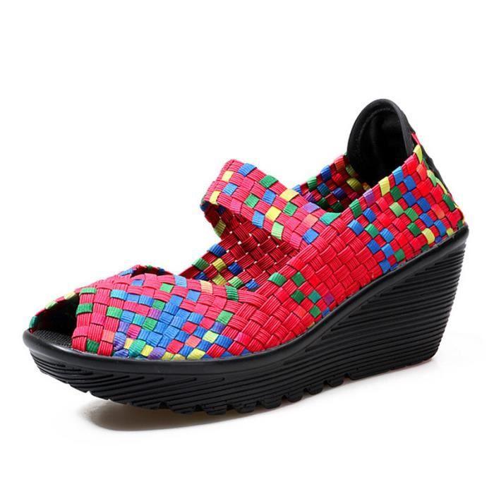 Sandale Femme Meilleure Qualité Respirant Talons hauts Sandales Femmes Confortable chaussures Grande Taille 35-40 zU5pA5b9