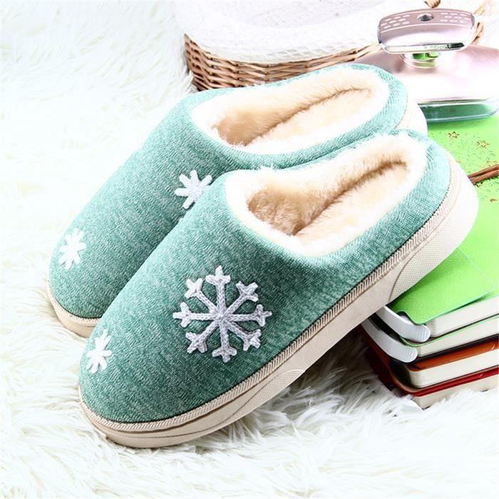 Flocons De Neige Chausson Doux Confortable Hiver Chaussure Garde Au Chaud Simple Femme Chaussons Coton Haut qualité 36-41 IY2moU