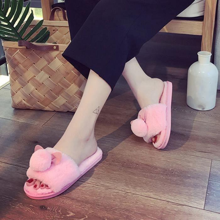 Femmes Dames Slip On Sliders Fluffy Faux Fourrure Flat Slipper Flip Flop Sandale Noir qJOkke9rLi