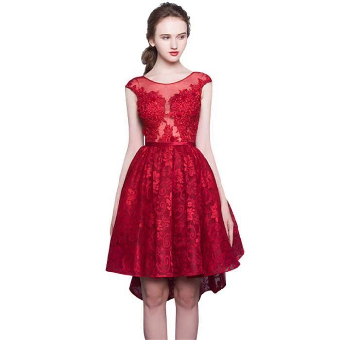 f9030c94cee Robe de Soiree Élégant Court COL rond femme Cocktail Party Rouge VV05423