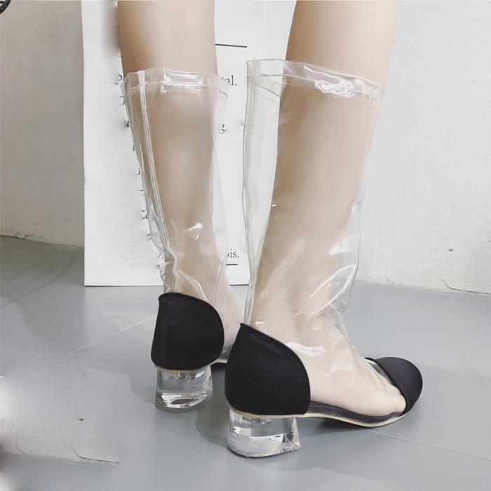 Deessesale Transparent Chaussures femmes Tête Wy6105 Talon Cristal Haute Bottes Ronde Bottines Clair À PxSrwpP