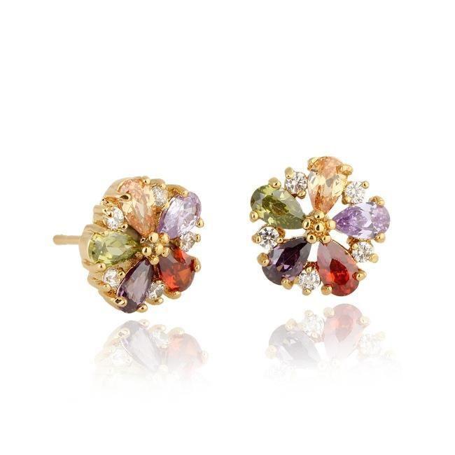 Bijoux mode 2018604 boucle doreille les femmes bijoux filles élégant stud strass zircon fleur blanc