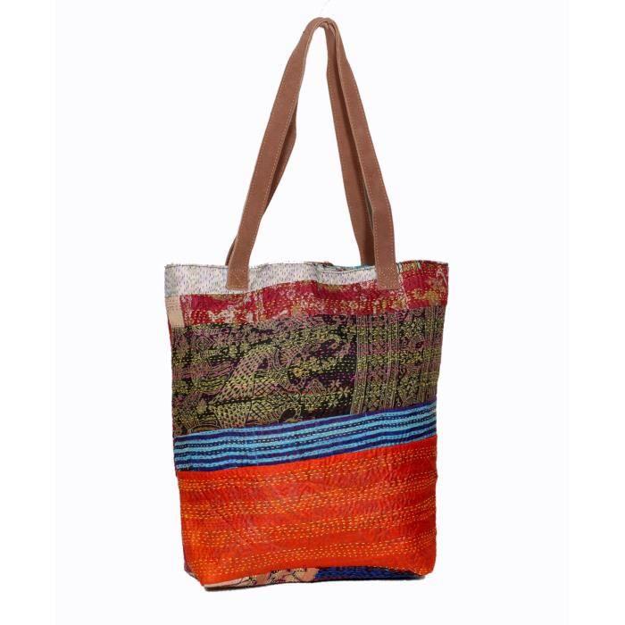 femmes vintage soie kantha travailler en cuir poignée sacs à bandoulière à la main AWY1K