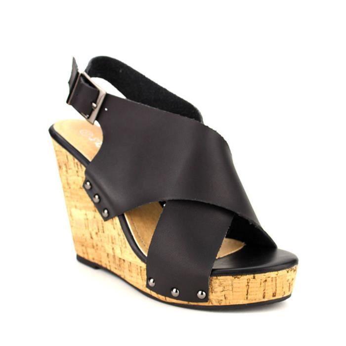 sandale - nu-pieds, Compensées Noir Chaussures Femme, Cendriyon