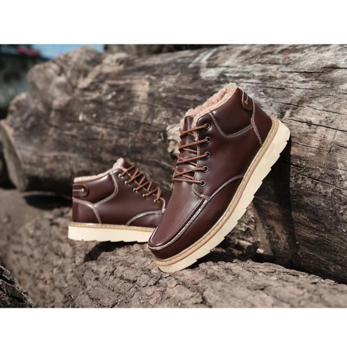 Chaussures fourrées loisirs chaussures d'hiver de coton d'isolation thermique Martin bottes d'outillage antidérapant pour raquette 3xepp