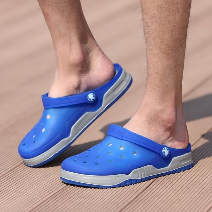 Nouveau design Hommes Mesh Sandales Respirant été talon plat Sandales hommes plage Tongs Chaussons,bleu,9.5