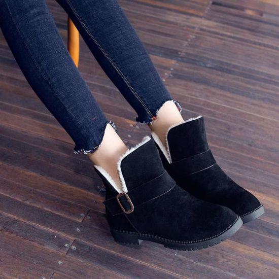 Chaudes Rond Chaussures Bracelet Compensées Frandmuke2363 De Bout Bottes Neige Femmes Suede Gardez Boucle AxFPU