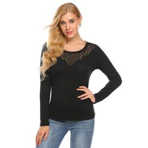 T-SHIRT Tee shirt femme noir à Col rond à manches longues ...