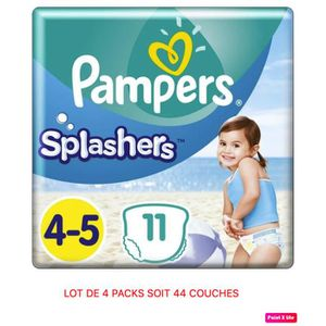 COUCHE PAMPERS SPLASHERS - LOT DE 4 PACKS SOIT 44 COUCHES