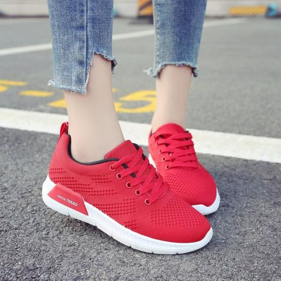 Chaussures femme basket femme sneakers femmes runing shoes / Rouge Rouge - Achat / shoes Vente basket f2d655