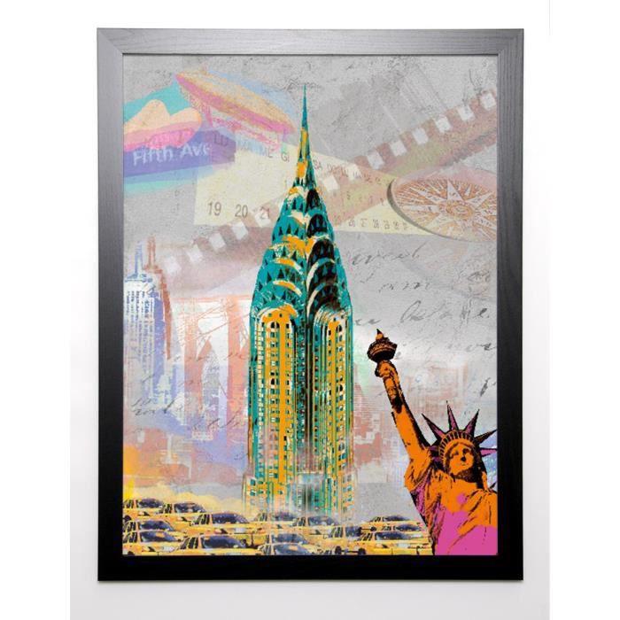 JULES Image encadrée New York Vintage 67x87 cm Multicolore