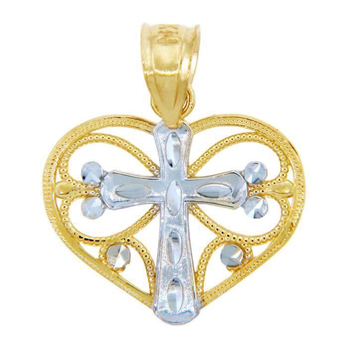 Collier Pendentif10 ct Or 471/1000 AVEC tonnes Deux Coeur- with Or Blanc Croix Collier Pendentif(vient avec une Chaîne de 45 cm)