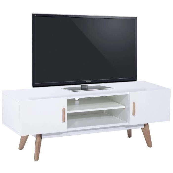 NORDIK Meuble TV scandinave blanc laqué avec cadre métal blanc et