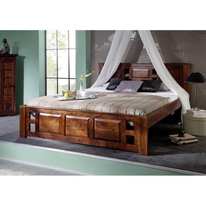 Lit 200x200 en bois massif d\'acacia, Style Colonial, Couleur Nougat ...